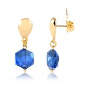 Brinco pequeno Rafaela pedra azul folheado a ouro 18k