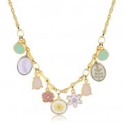 Maxi colar Aline flores coloridas folheado a ouro18k