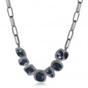 Maxi colar Dominique geométrico resina preta e branca folheado a ródio negro