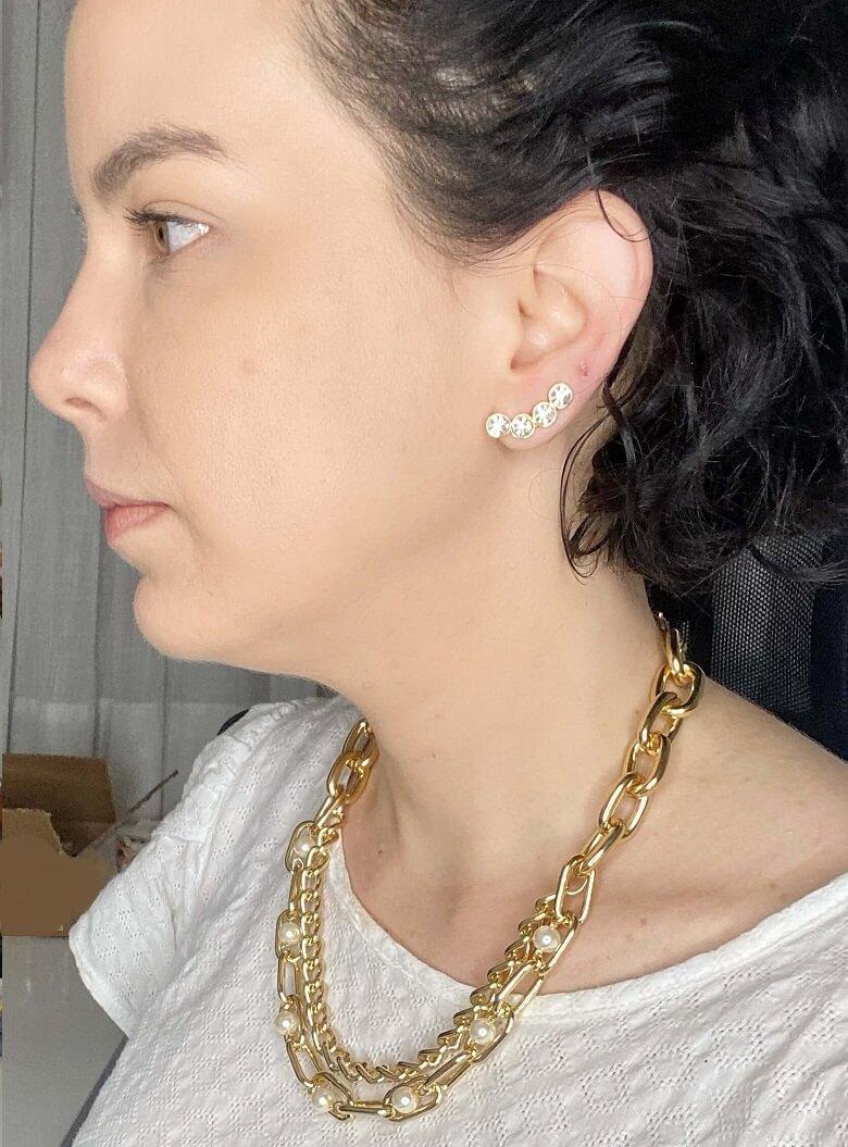 Brinco ear cuff Andressa pontos de luz honey folheado a ouro 18k