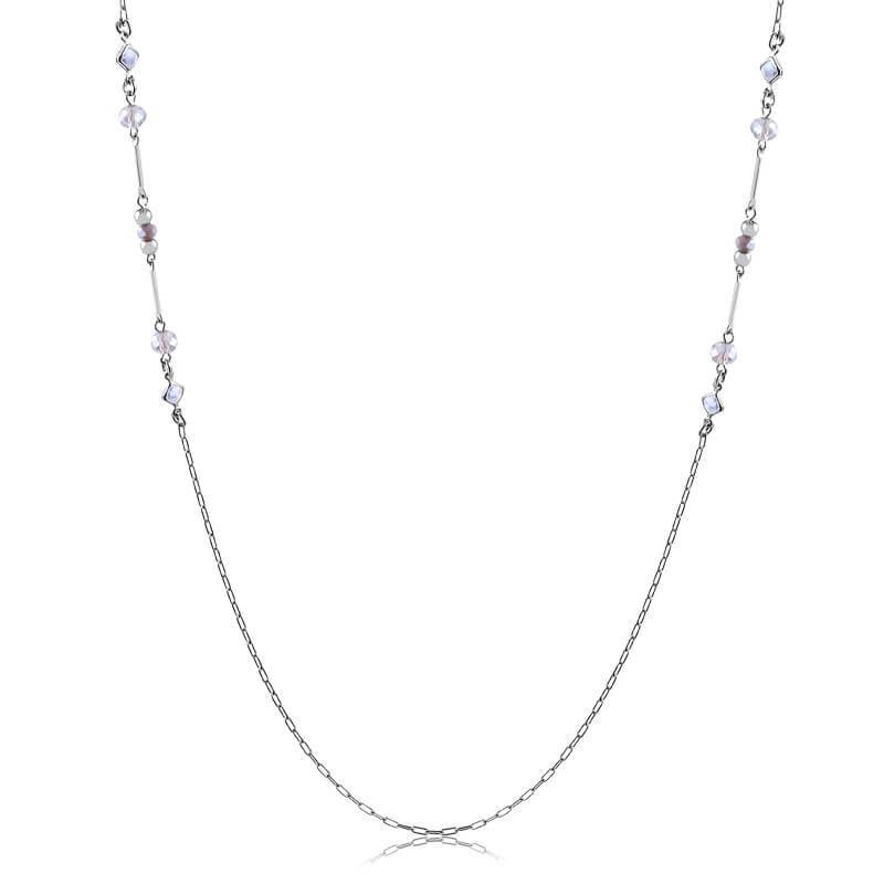Colar longo Ana Paula cristais lilás folheado a ródio branco