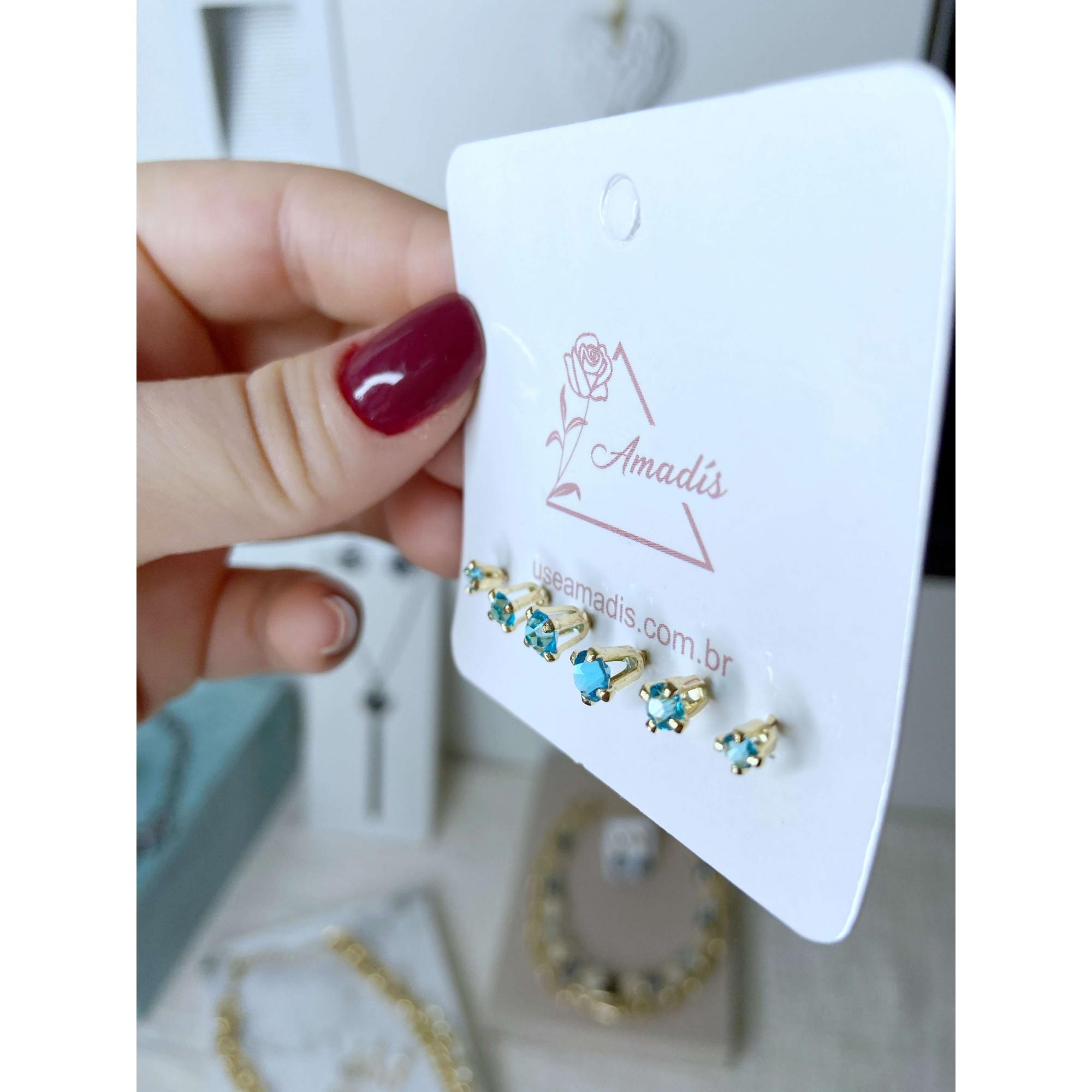 Kit de brincos Xuxa pontos de luz azul folheado a ouro 18k