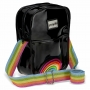 Bolsa Shoulder Bag Transversal Ajustável Arco-Íris Preta
