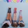 Meia Infantil Juvenil 3/4 Colorida Divertida Arco-Íris