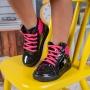 Tênis Infantil Menina Cano Alto Estrela Preto e Pink