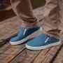 Tênis Slip on Infantil Juvenil Menino Elástico Azul Jeans