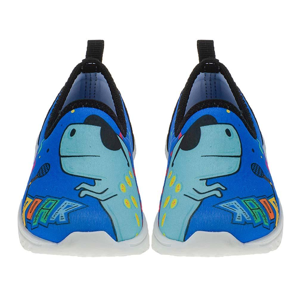 Tênis Calce-Fácil Infantil Menino Dinossauro Cantor Azul