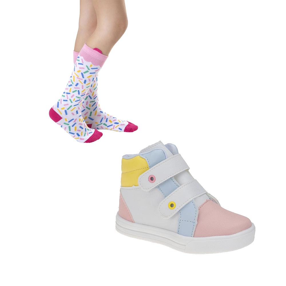 Tênis e Meia Infantil Meninas Colorido Candy Color