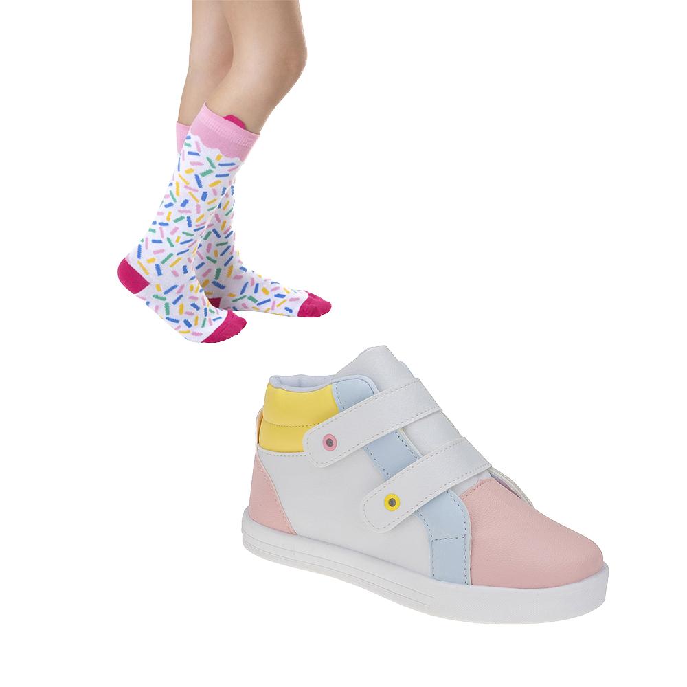 Tênis e Meia JUvenil Meninas Colorido Candy Color
