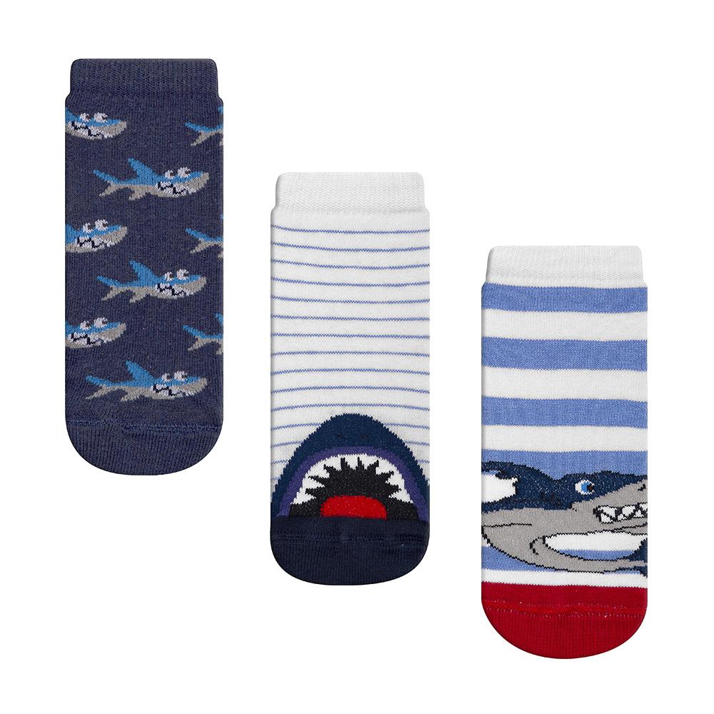 Meia Infantil Menino Kit 3 Pares Colorida Listrada Tubarão