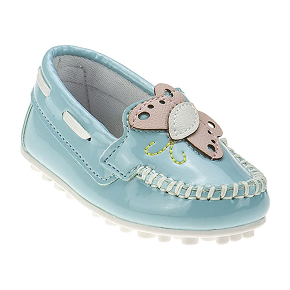 Mocassim Infantil Baby Menina Borboleta Azul