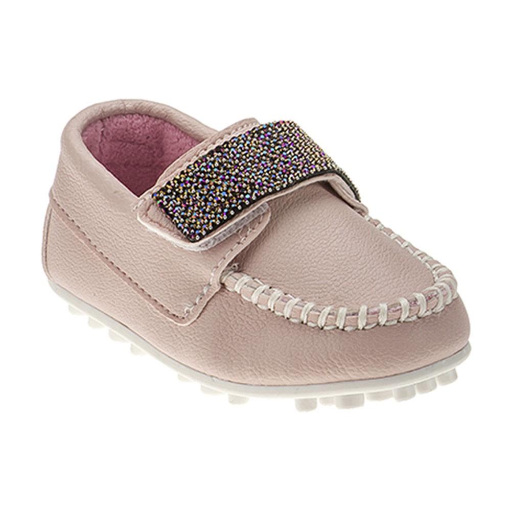 Mocassim Infantil Baby Menina Calce-Fácil Glitter Rosa