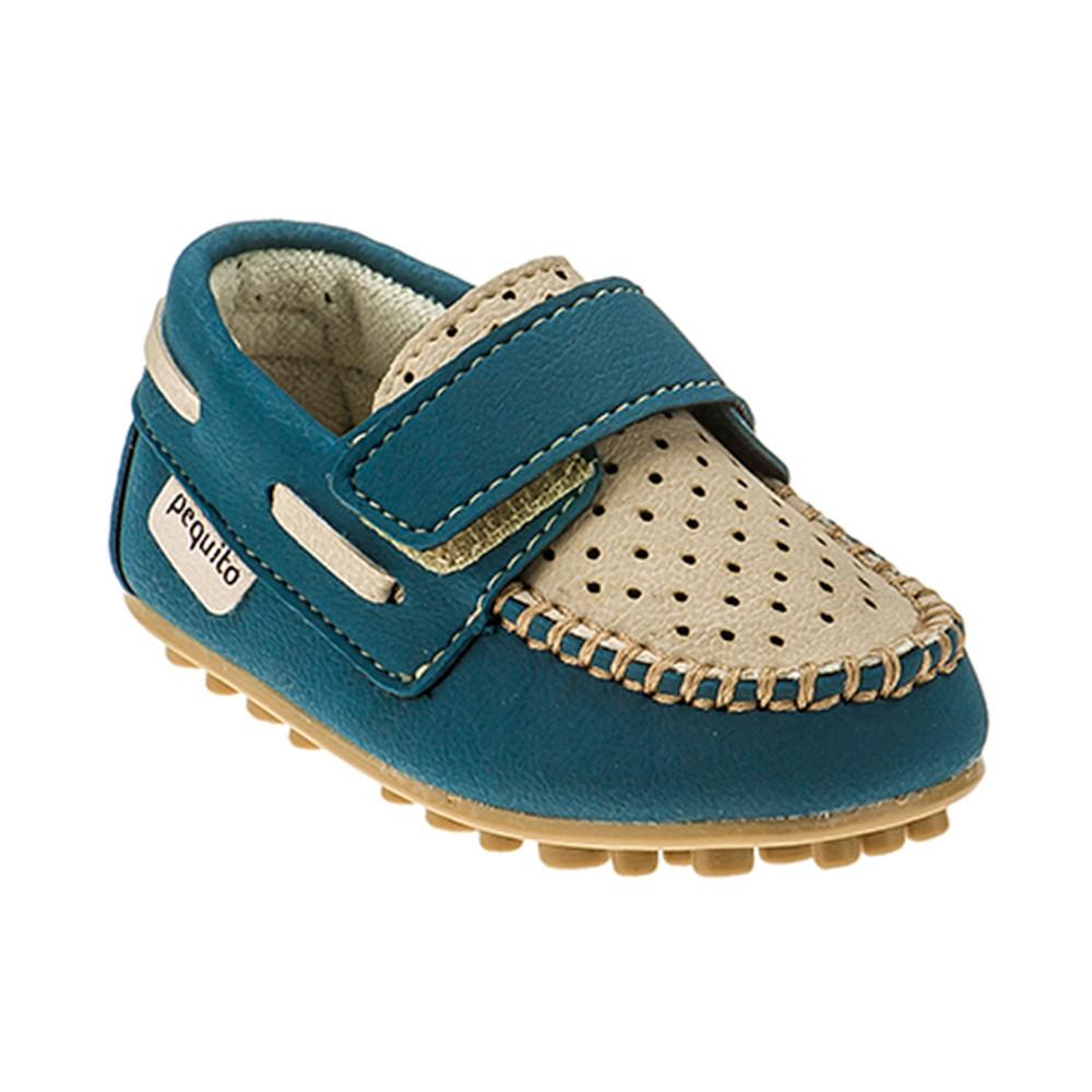 Mocassim Infantil Baby Menino Bicolor Azul Petróleo