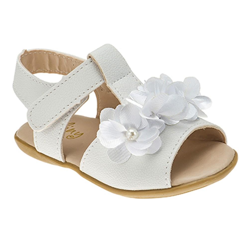 Sandália Infantil Baby Menina Flores Branco