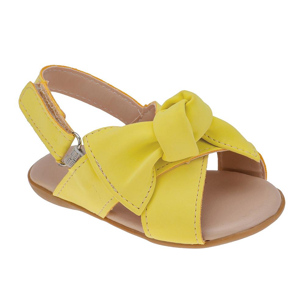 Sandália Infantil Baby Menina Laço Amarela
