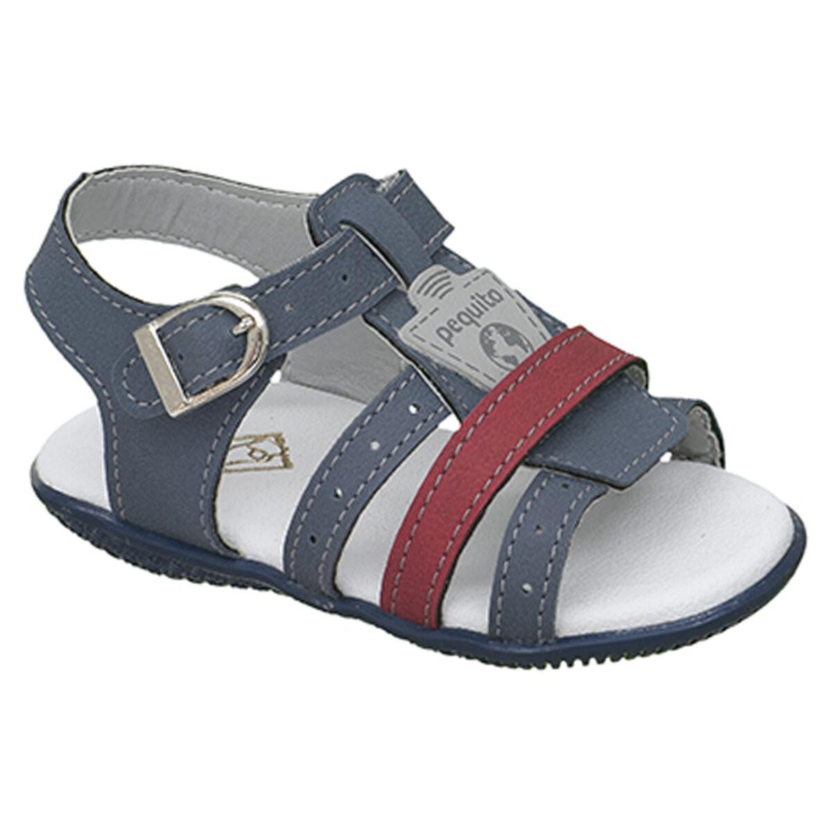 Sandália Infantil Menino Baby Bicolor Tiras Azul Jeans