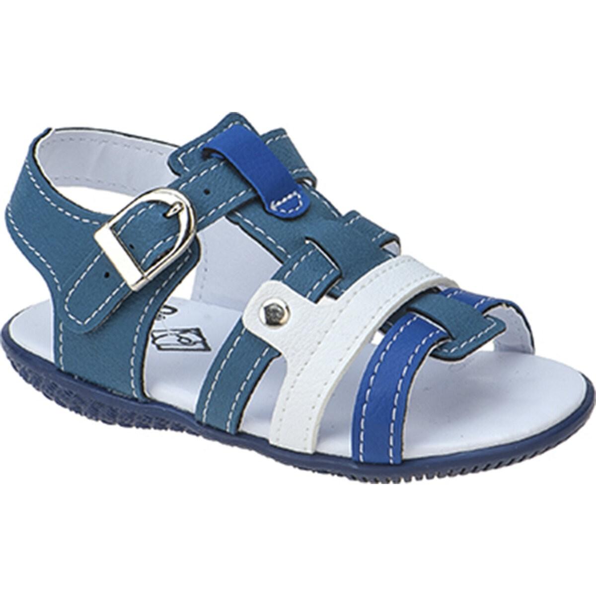 Sandália Infantil Menino Baby Tricolor Tiras Azul