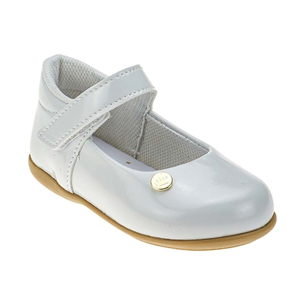 Sapatilha Infantil Baby Menina Calce-Fácil Coroa Batizado/Festa Branca