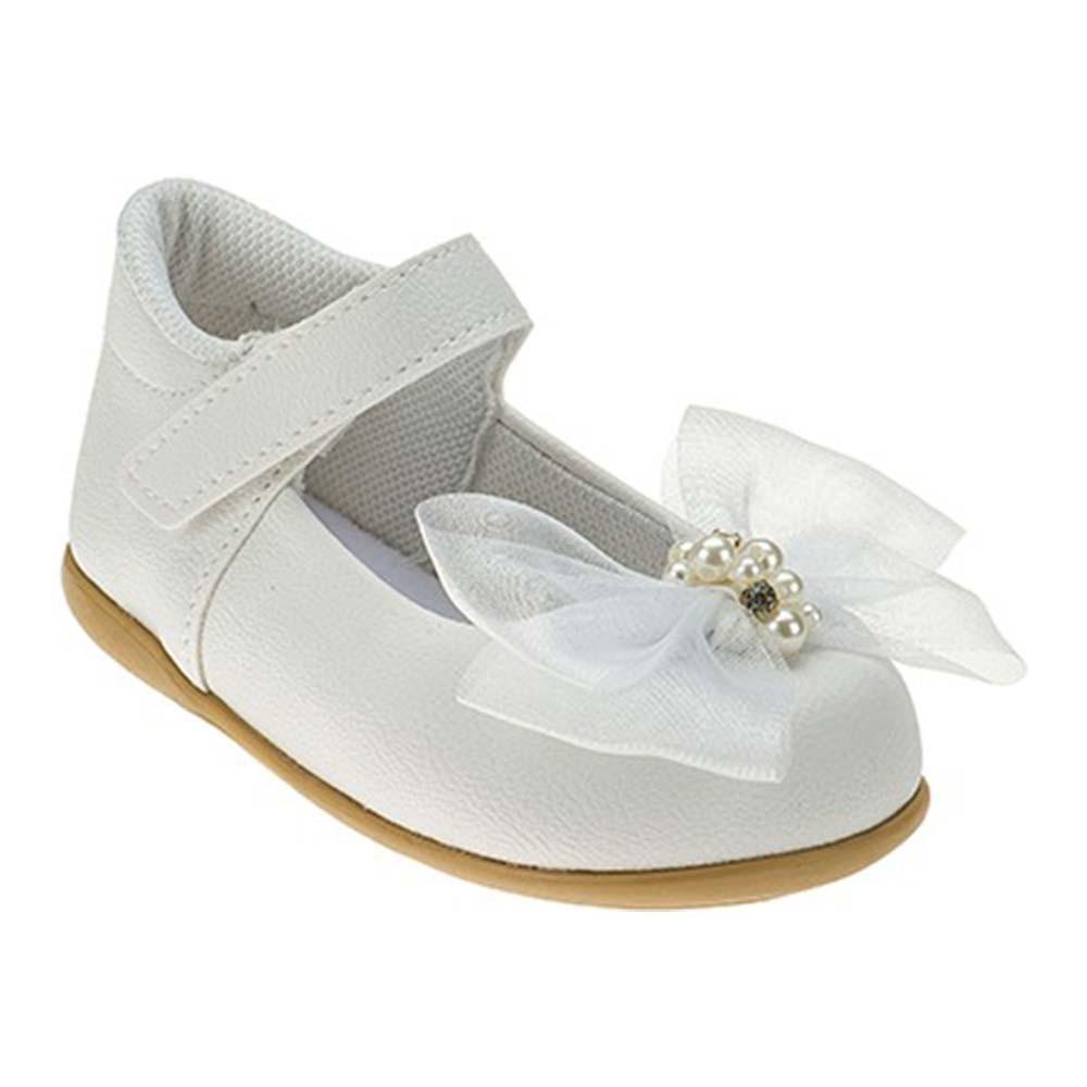 Sapatilha Infantil Baby Menina Calce-Fácil Laço Grande Batizado/Festa Branca
