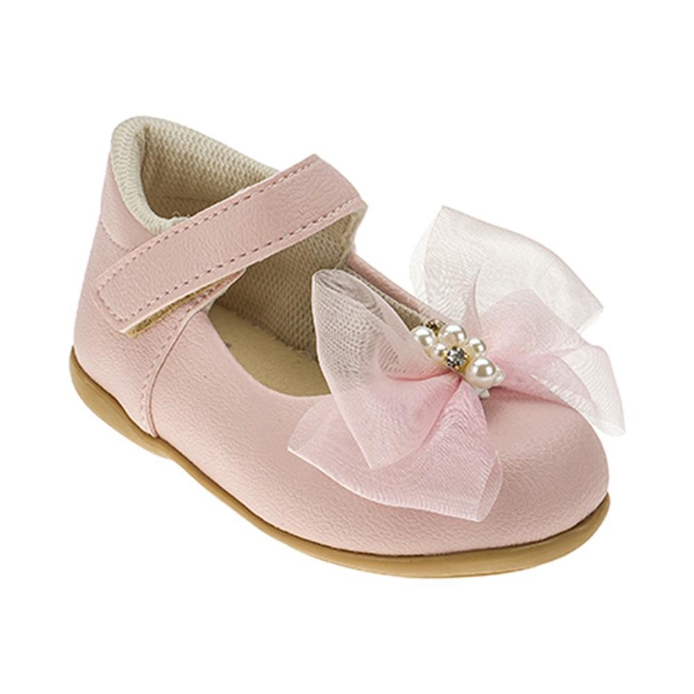 Sapatilha Infantil Baby Menina Calce-Fácil Laço Grande Rosa