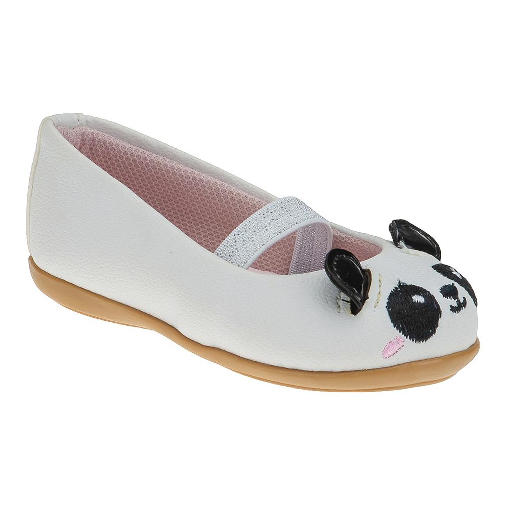 Sapatilha Infantil Baby Menina Panda Branca