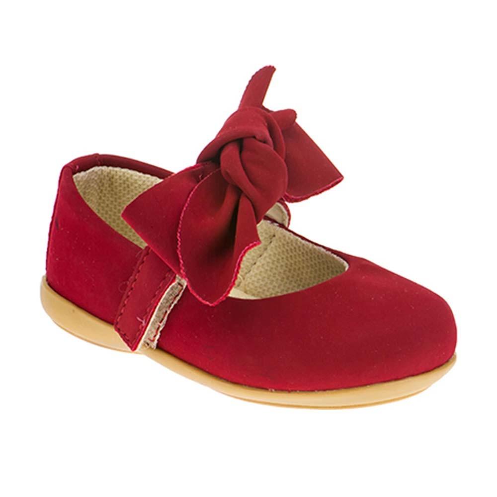 Sapatilha Infantil Baby Menina Calce-Fácil Camurça Laço Vermelho
