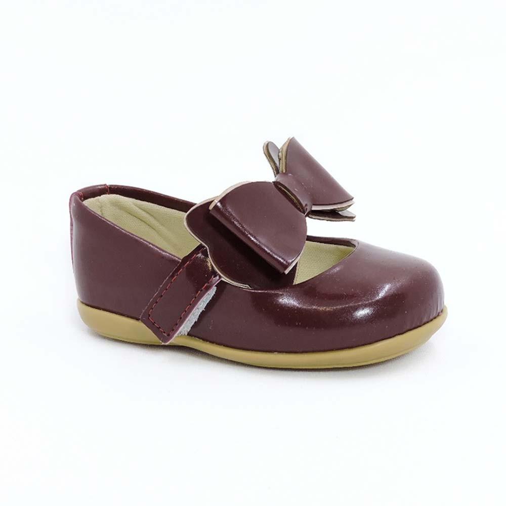Sapatilha Infantil Baby Menina Calce-Fácil Laço Bordô