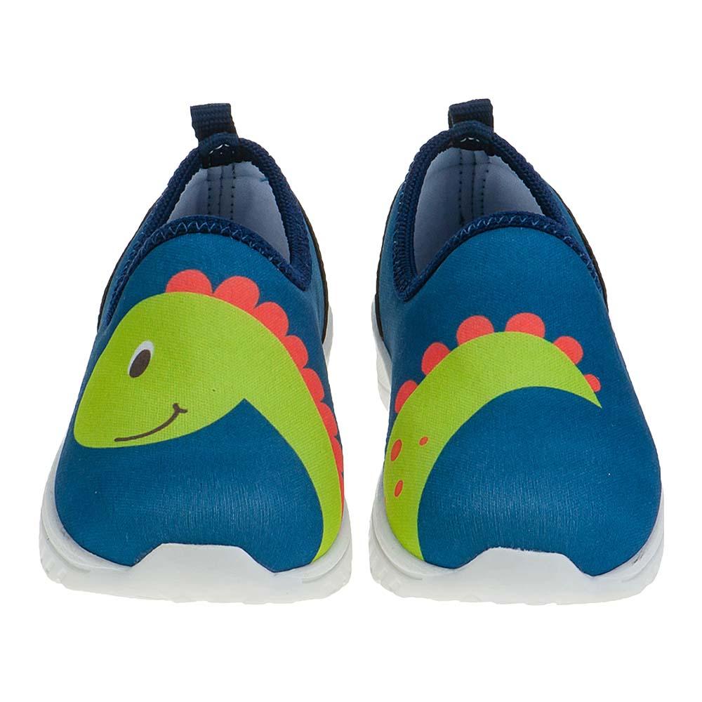 Tênis Calce-Fácil Infantil Menino Dinossauro Azul
