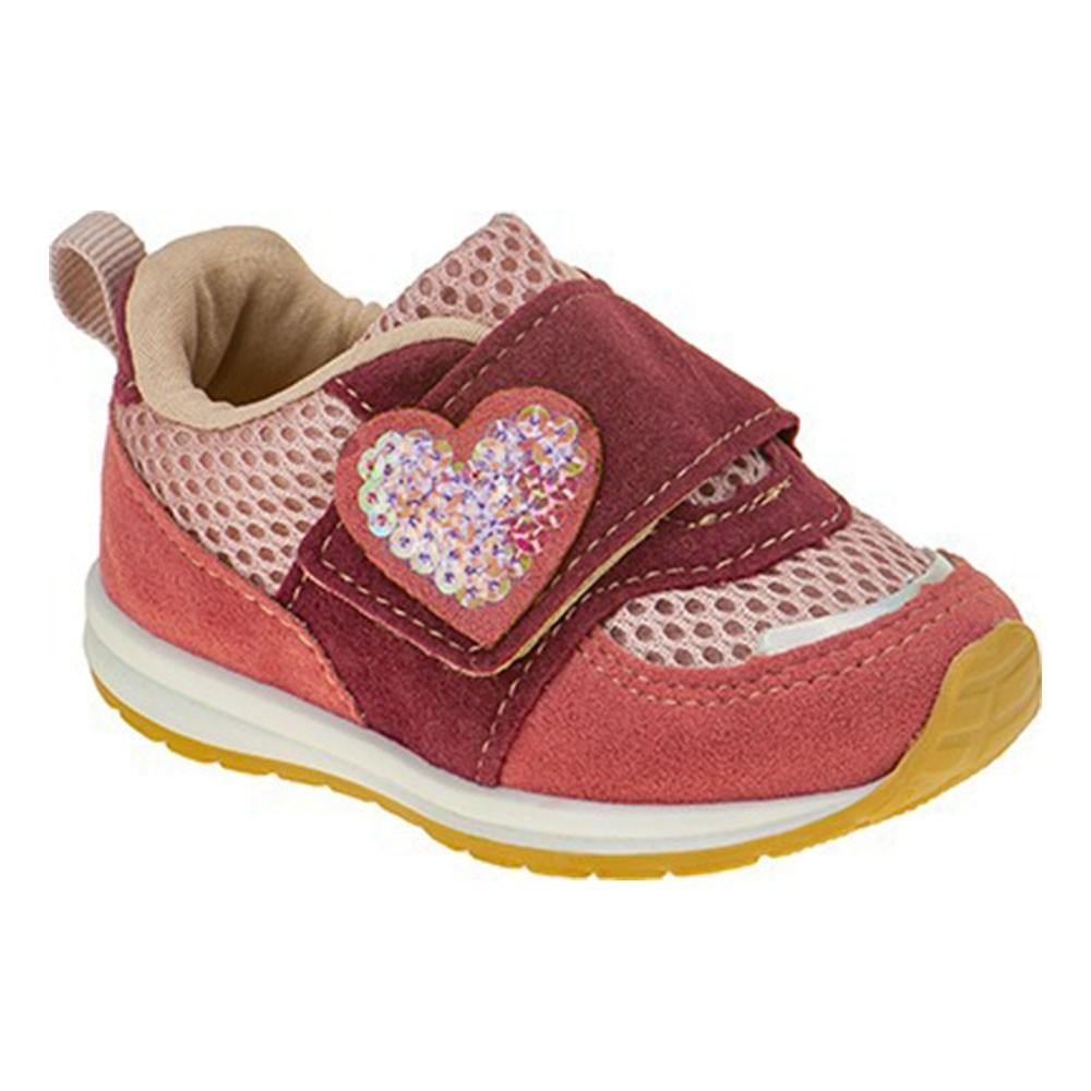 Tênis Infantil Baby Menina Esportivo Calce-Fácil Coração Rosa