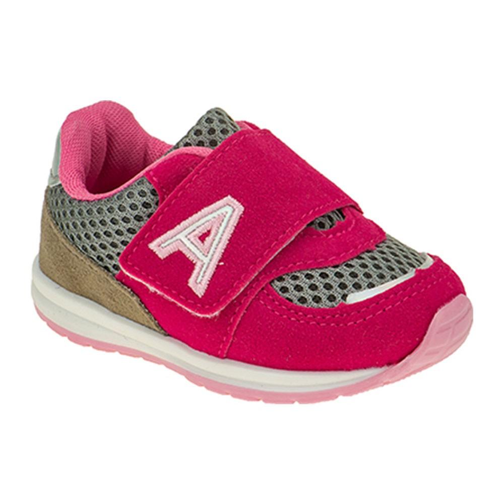 Tênis Infantil Baby Menina Esportivo Calce-Fácil Tricolor Pink