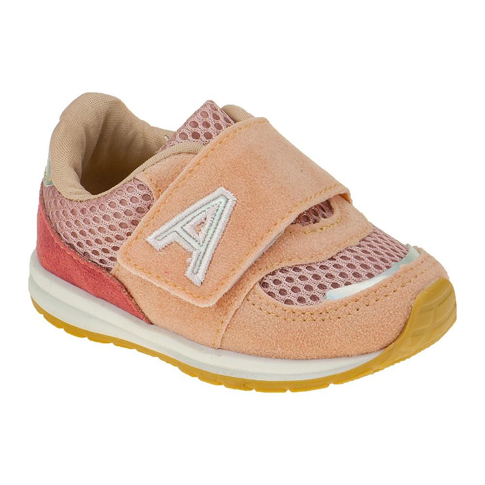 Tênis Infantil Baby Menina Esportivo Calce-Fácil Tricolor Rosa