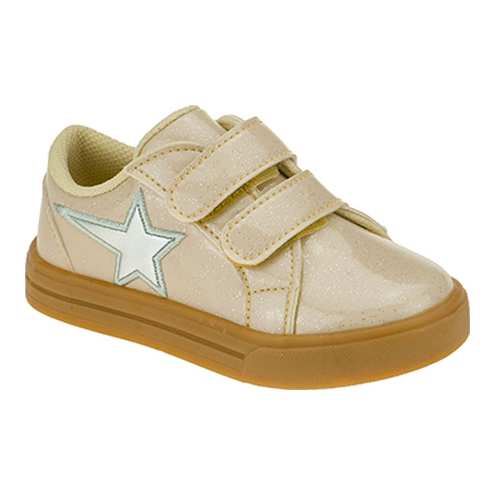 Tênis Infantil Menina Calce-Fácil Estrela Glitter Bege