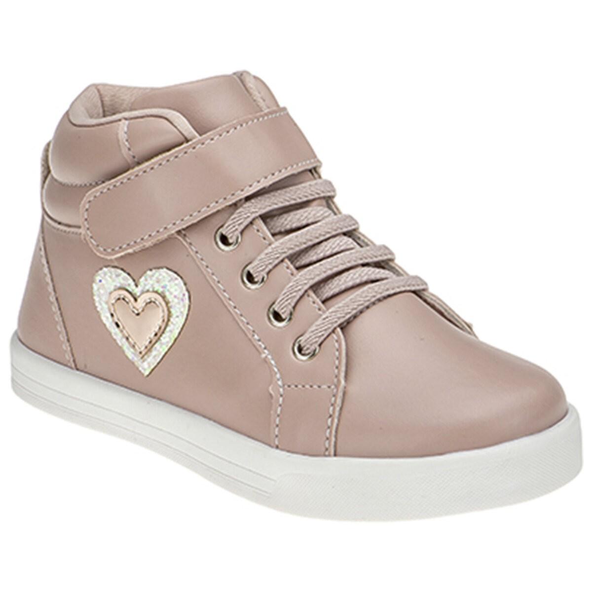Tênis Infantil Menina Cano Alto Coração Rose
