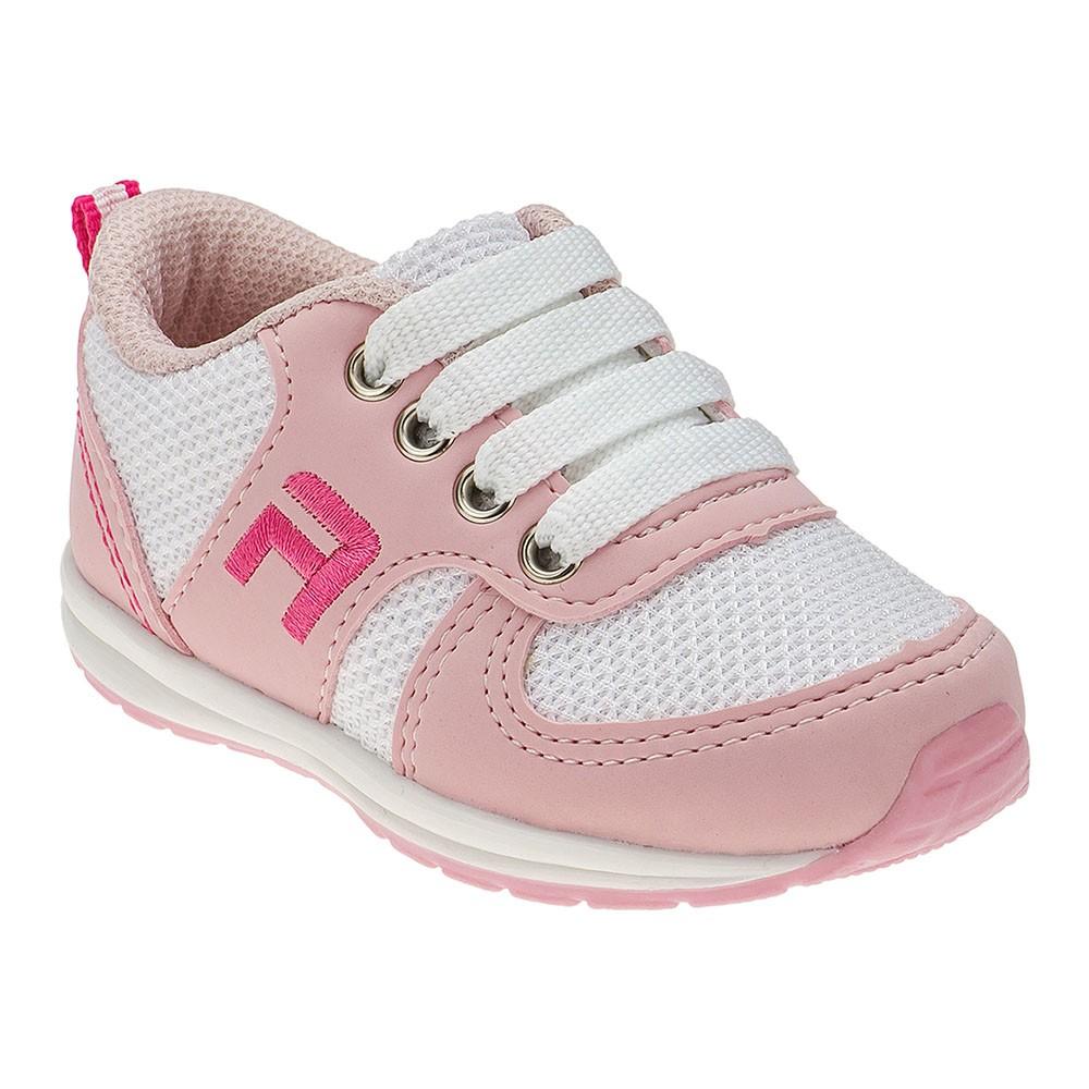 Tênis Infantil Menina Esportivo Rosa e Branco