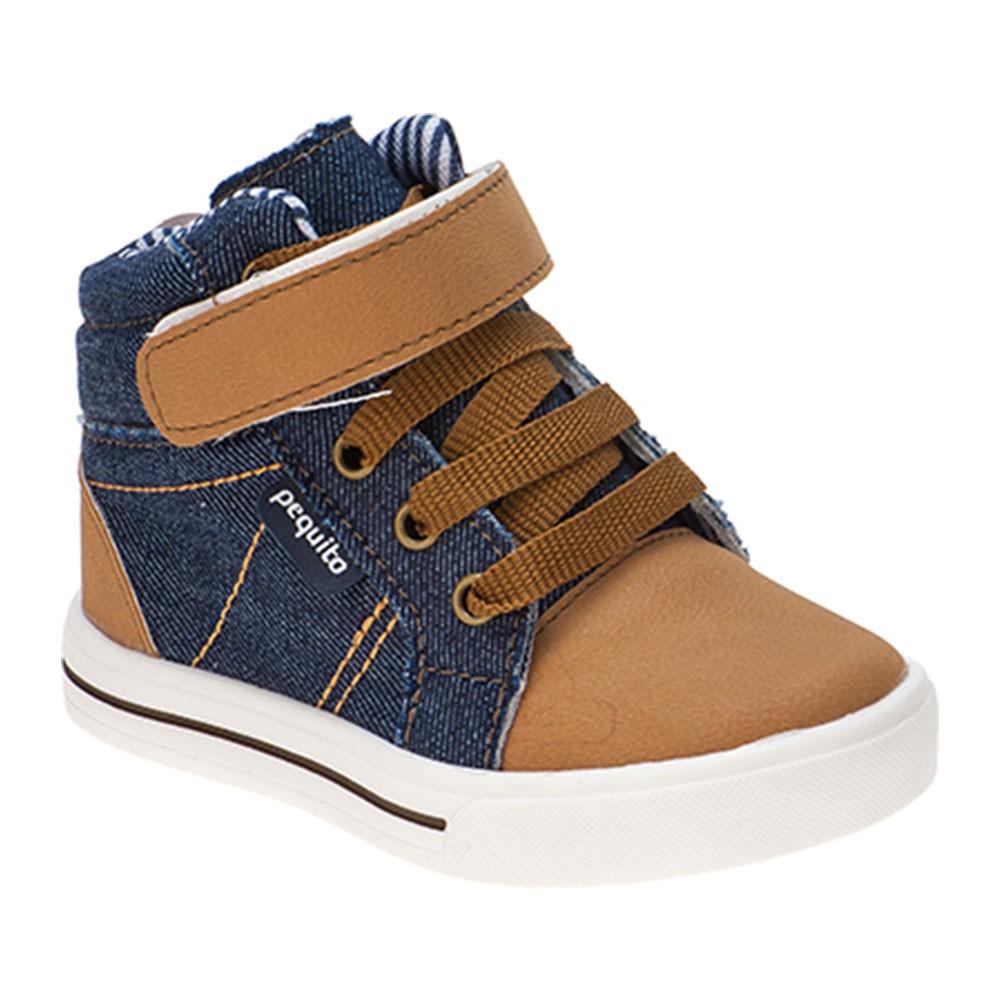 Tênis Infantil Menino Cano Alto Bicolor Jeans