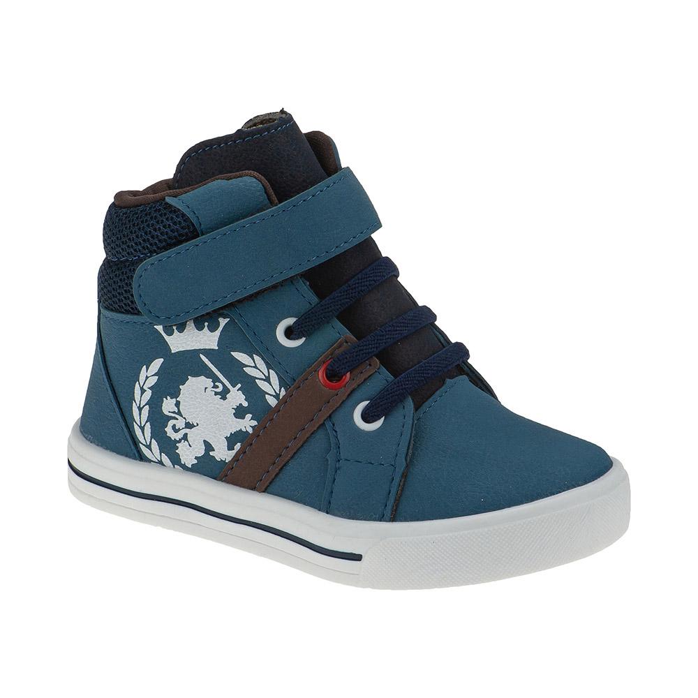 Tênis Infantil Menino Cano Alto Calce-Fácil Leão Azul Jeans