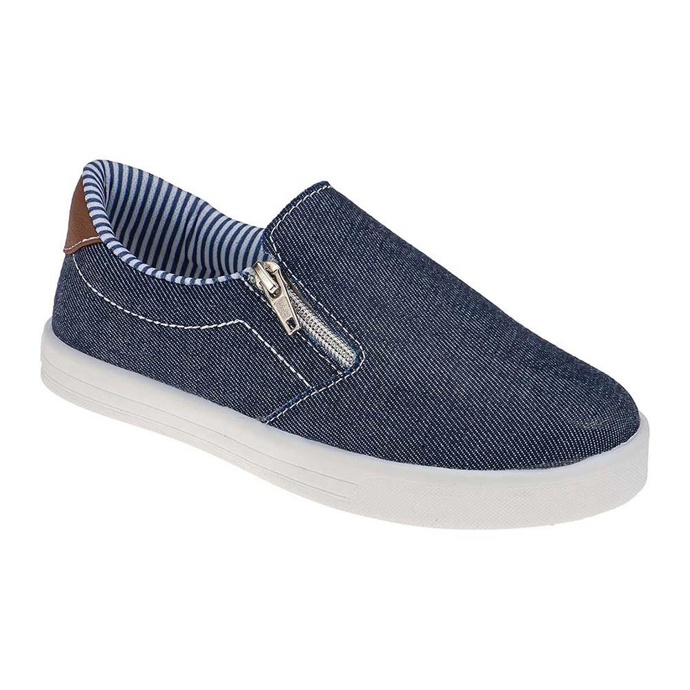 Tênis Slip on Infantil Juvenil Menino Zíper Jeans