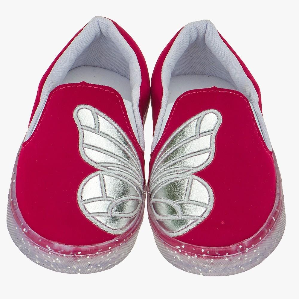 Tênis Slip on Infantil Menina Borboleta Camurça Pink