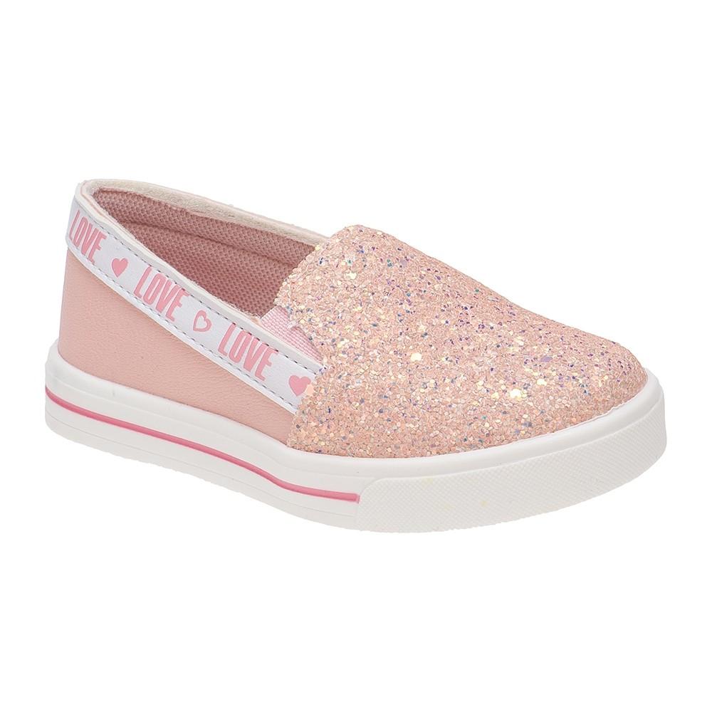 Tênis Slip on Infantil Menina Glitter Rosa