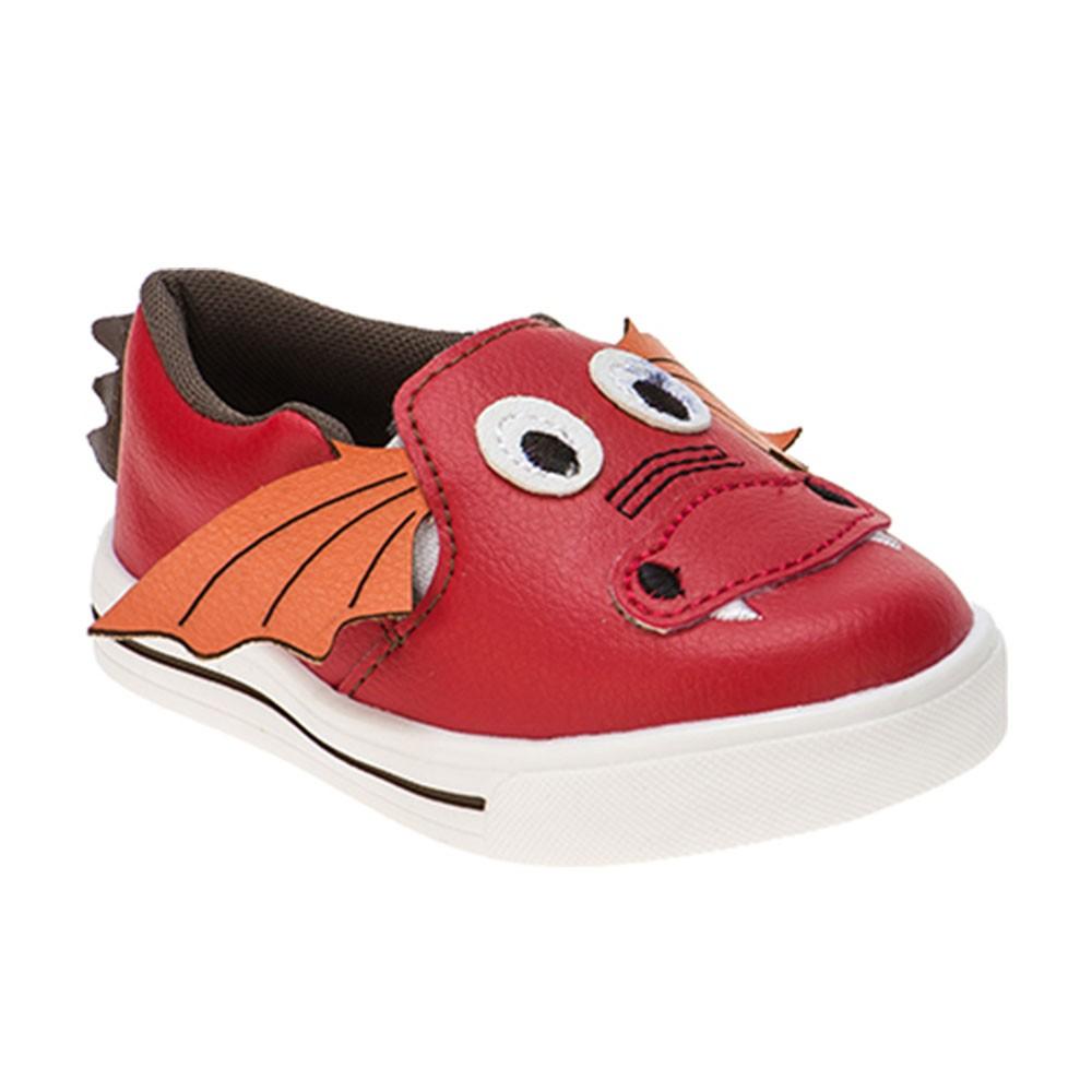 Tênis Slip On Infantil Menino Calce-Fácil Dragão Vermelho
