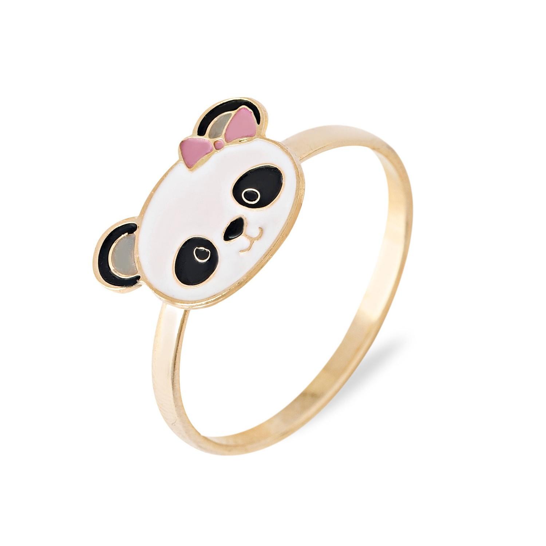 Anel infantil Panda com Laço Rosa Banhado a Ouro