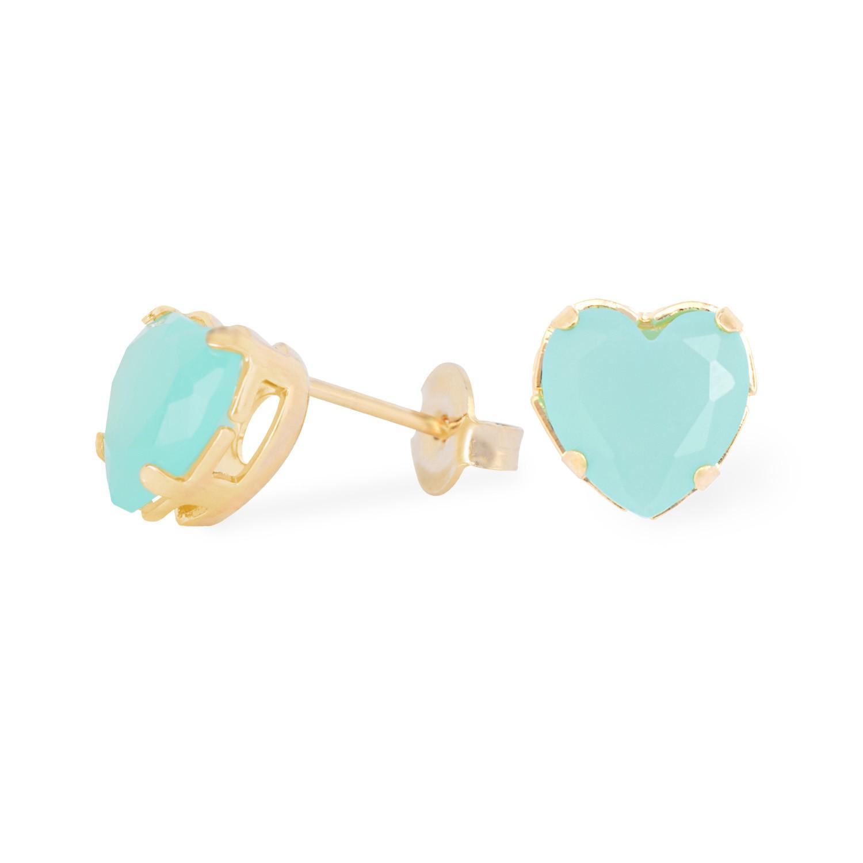Brinco Feminino Solitário de Coração de Cristal Verde Claro Leitoso Banhado a Ouro