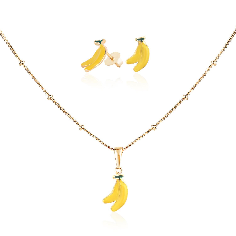 Conjunto Infantil com Colar e Brinco de Banana Banhada a Ouro