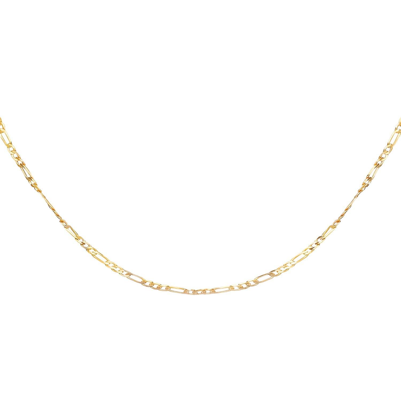 Corrente Unisex 50cm Fígaro 3x1 Banhado a Ouro