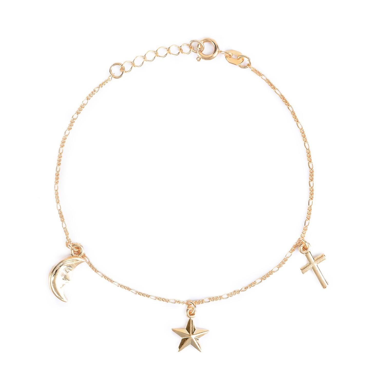 Pulseira Feminina com Pingentes de Luz, Estrela e Cruz Banhada a Ouro