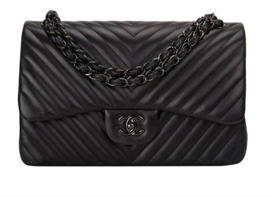 BOLSA CHANEL CHEVRON SO BLACK JUMBLE