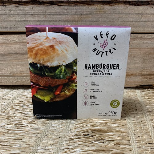 Hambúrguer Vegano de Berinjela e Quinoa 250g - Congelado