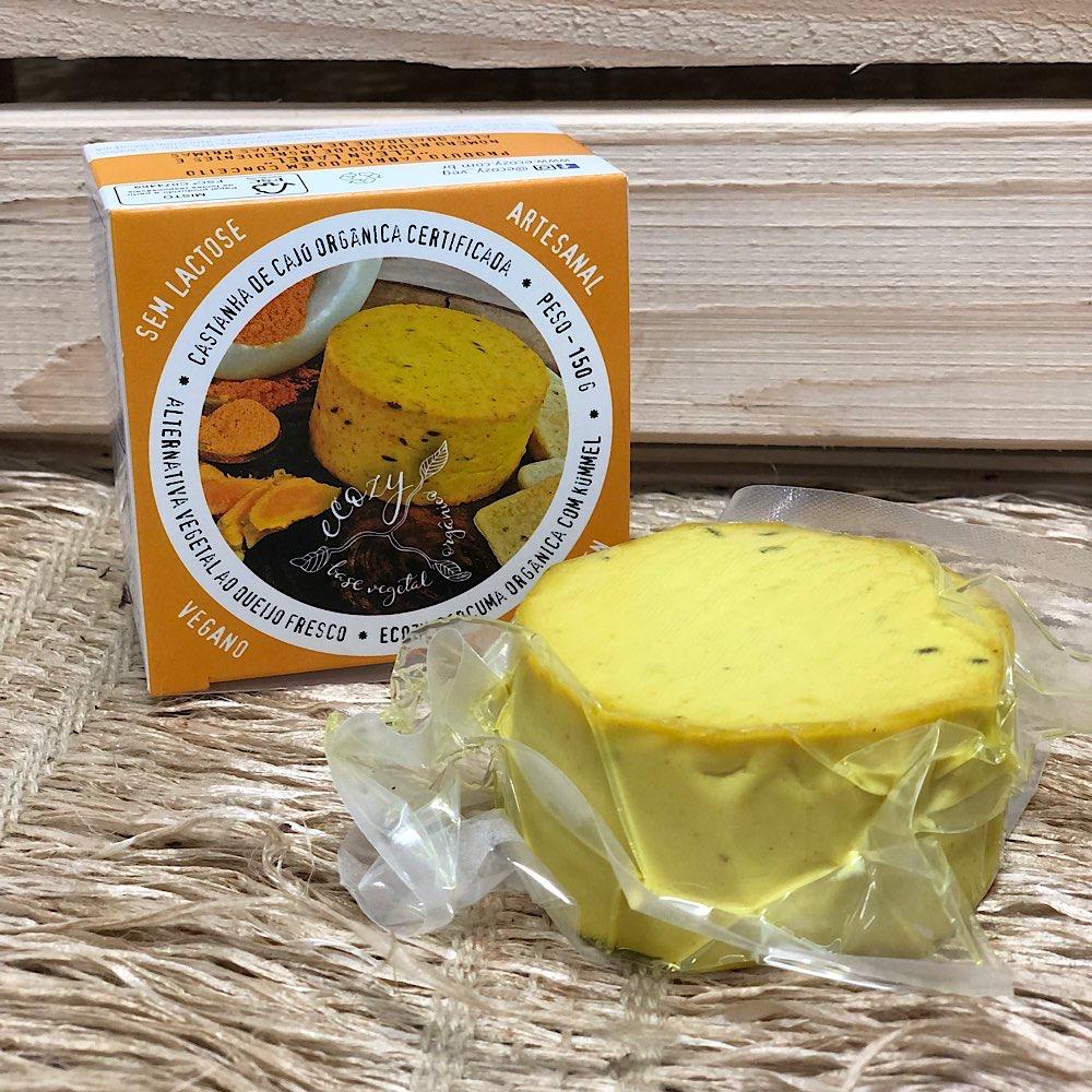 Queijo Vegetal com Curcuma Organica e Kummel 150g - Ecozy