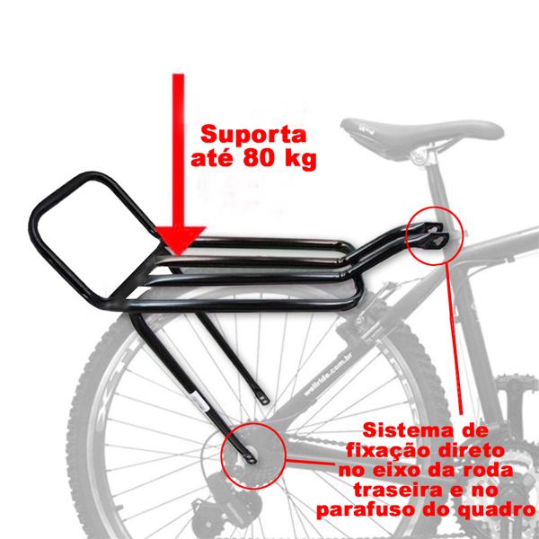 Bagageiro Garupa Bicicleta Mtb Tubo Rabetão Alto Preto
