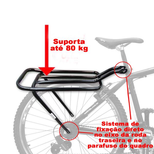 Bagageiro Garupa Bicicleta Mtb Tubo Reto Preto